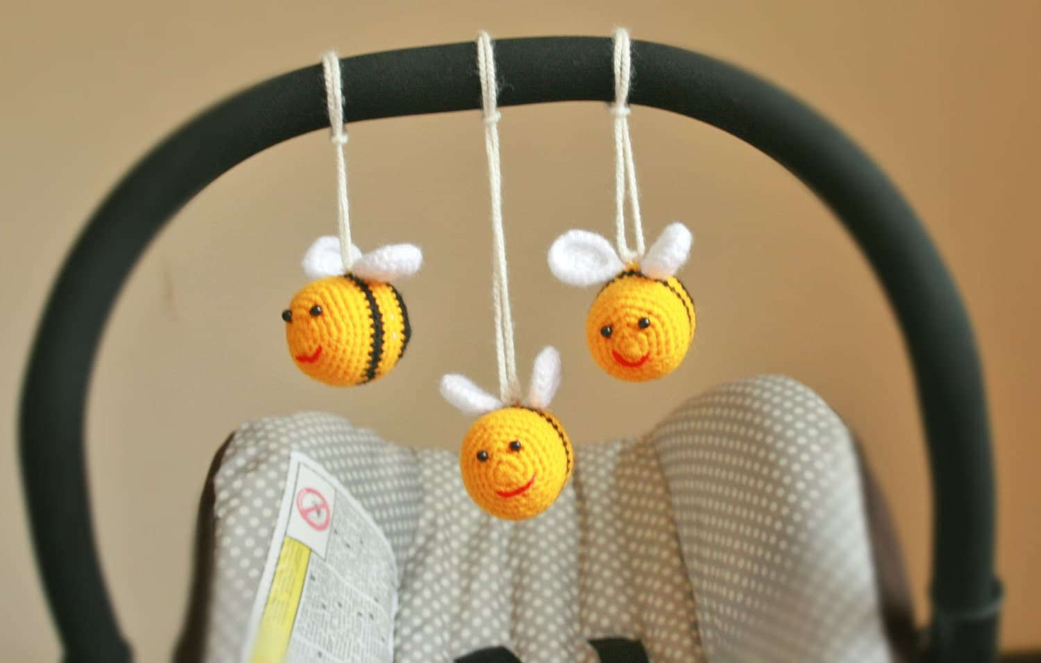 Toy Car Seat  Play Gym Toy  Crochet Bees Toy  Stroller Mobile  Pram Toy rattle baby toy