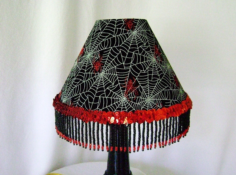 lamp shade in red and black with handmade beaded trim and red glitter. Black Bedroom Furniture Sets. Home Design Ideas