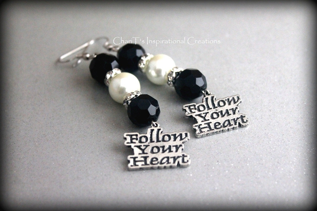 Follow Your Heart Black and White Earrings