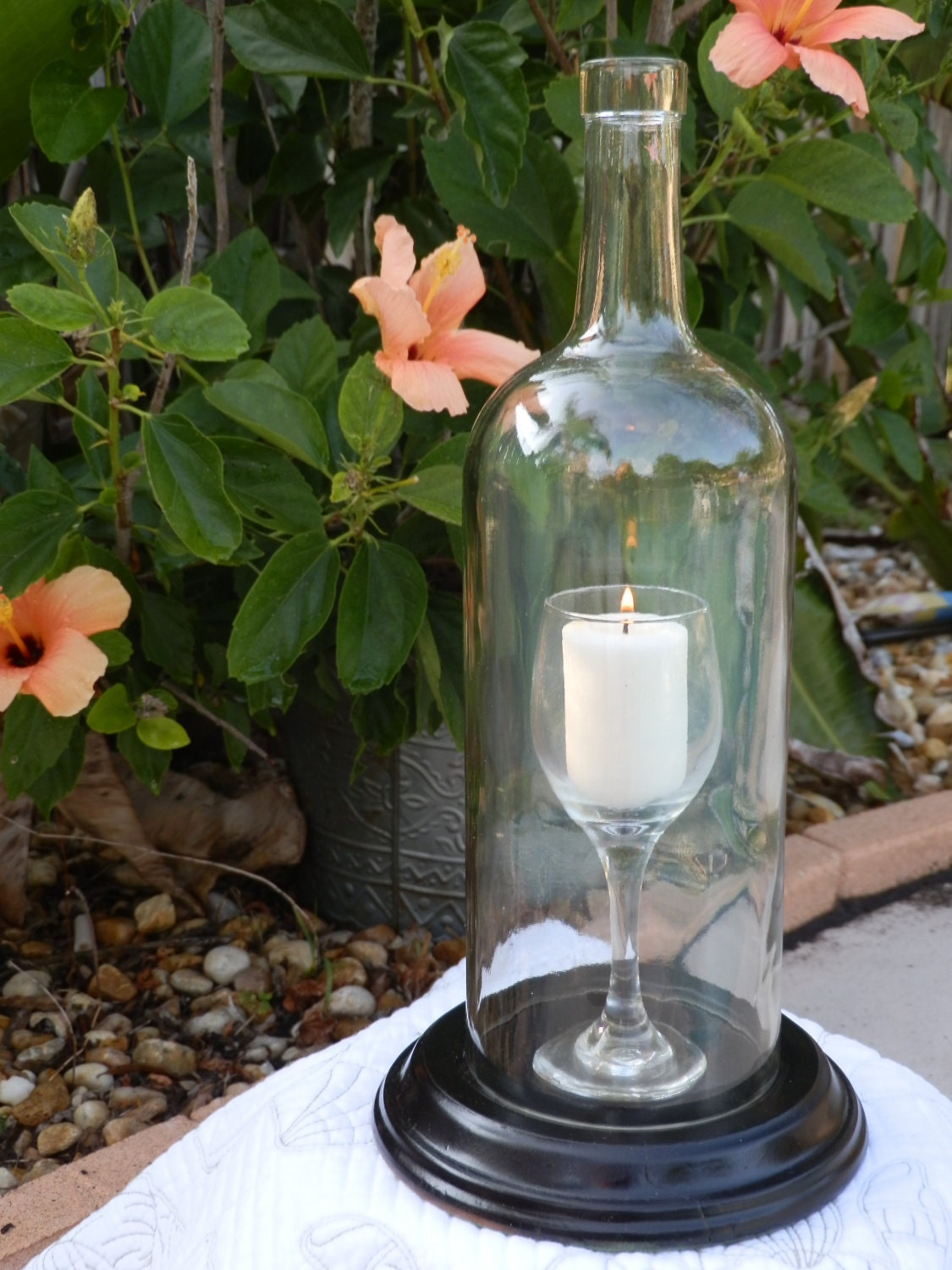Special wine glass in a bottle candle holder by bomolutra