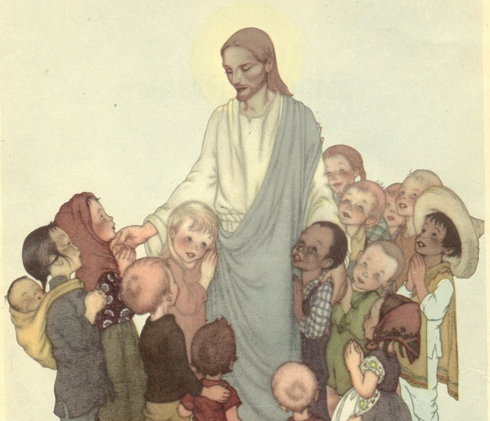 Antique Spiritual Easter Print Art Sing in Praise majorrie Torry Print Jesus Children Easter Mothers day Gift