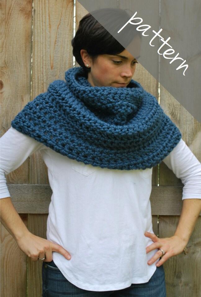 Chunky Crochet Poncho Free Pattern : Crochet PATTERN Cowl Poncho Cape Chunky by ...