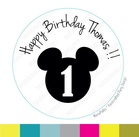 Mickey stickers Party Personalized Happy Birthday Name and Age PRINTED round Stickers, tags, Labels or Envelope Seals MariaPalito A726
