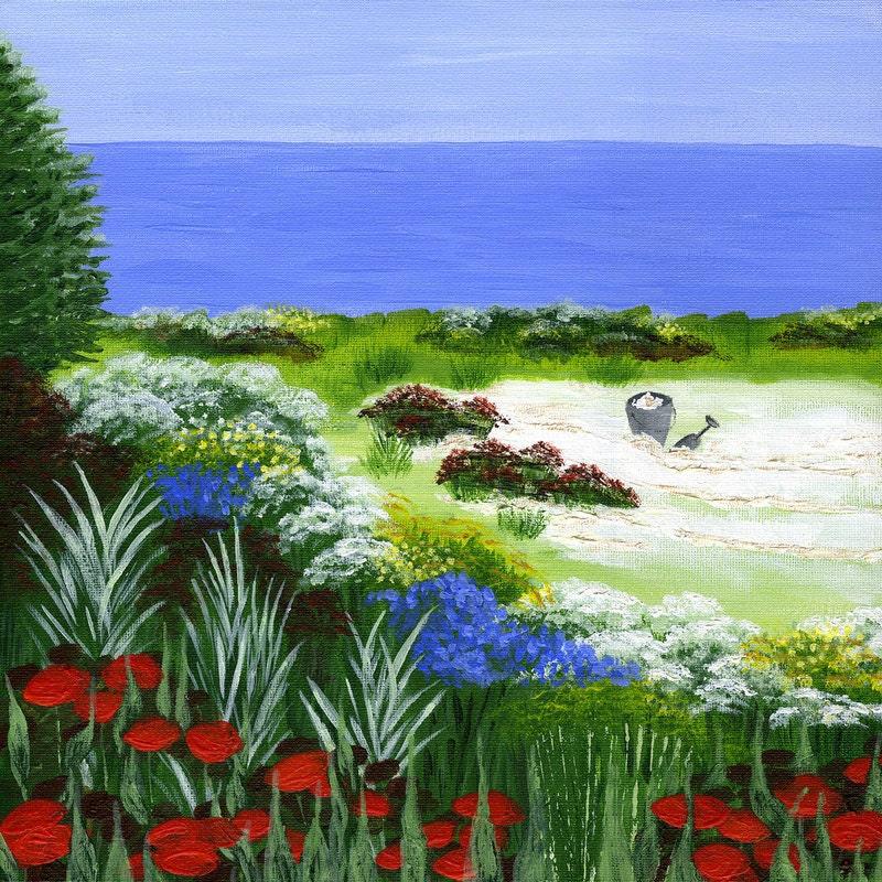 Items similar to seashore garden print ocean beach for Beach house landscaping plants