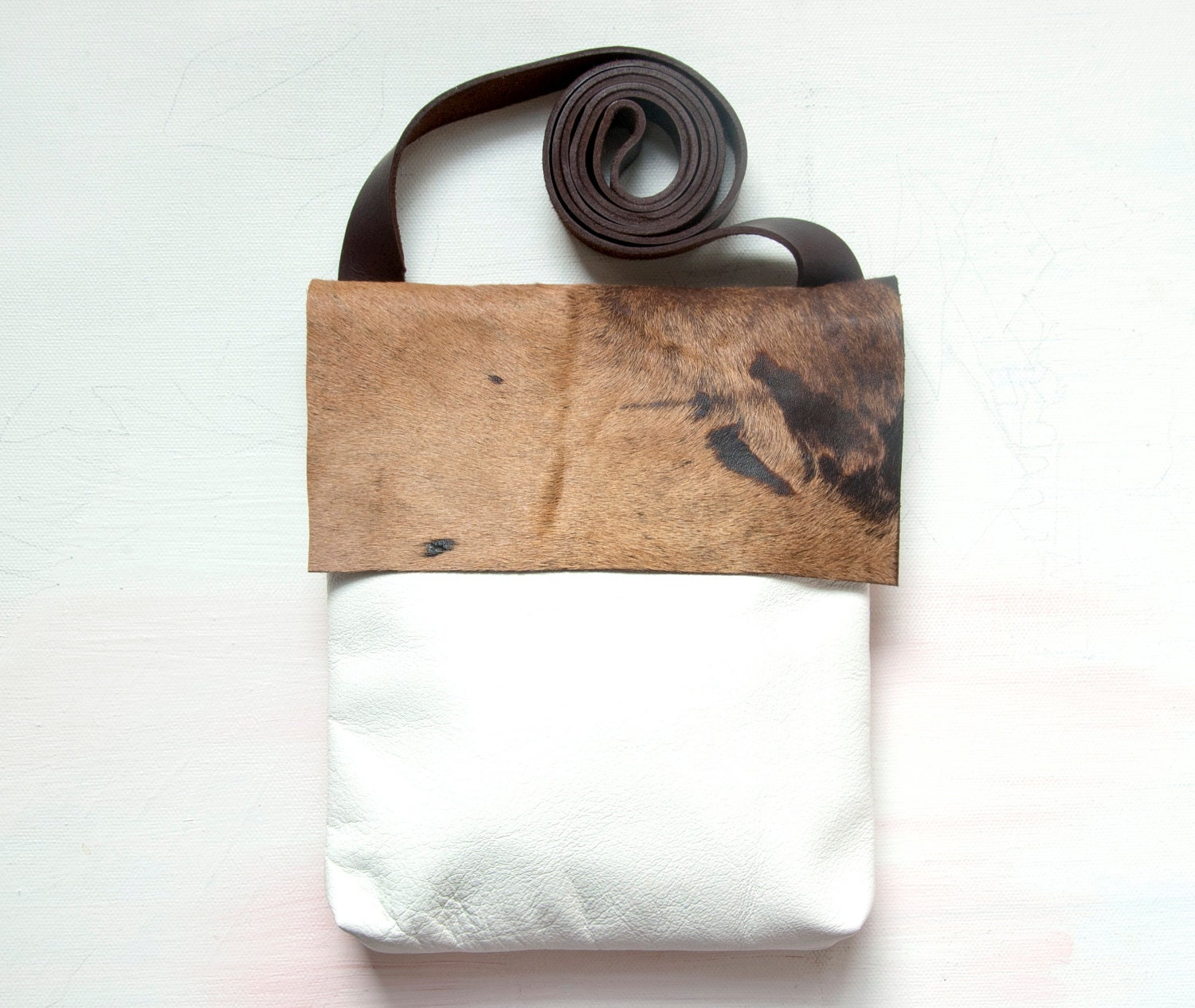 H A I R ON HIDE and White Leather Cross Body Shoulder Purse. White Brown Leather Bag - GiftShopBrooklyn