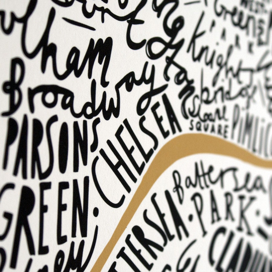 A3 London print - black and gold Christmas gift - OldEnglishCo