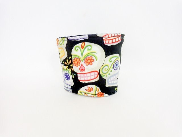 Reusable Coffee Sleeve  Coffee Cozy Sugar Skulls Day of the Dead - handjstarcreations