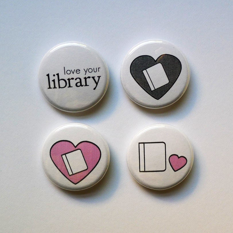 Library Love Pinback Buttons - KlingerCreative
