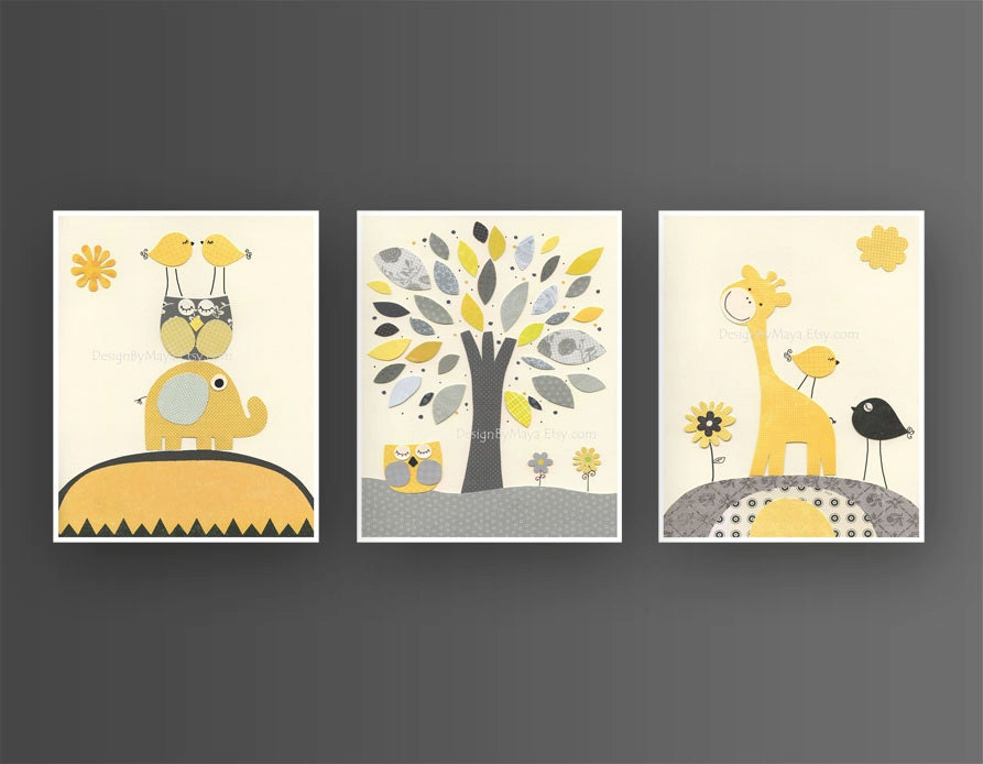 baby boy yellow and gray nursery wall art baby by designbymaya. Black Bedroom Furniture Sets. Home Design Ideas