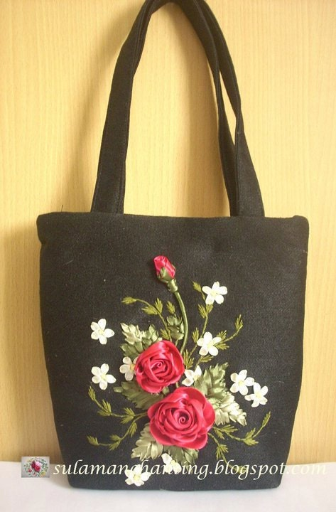 Purse ribbon embroidery black with red roses by sis rs on