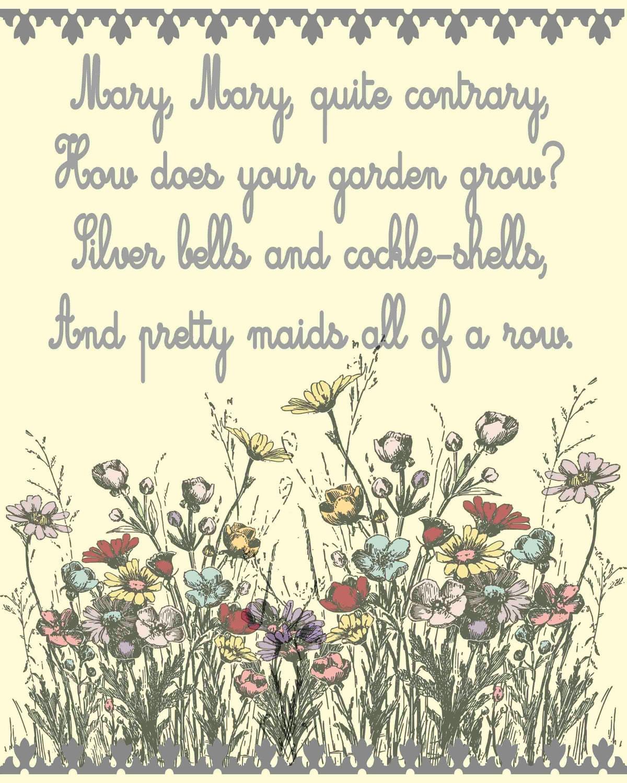 Nursery Art Nursery Rhyme Mary Mary Quite Contrary by ...