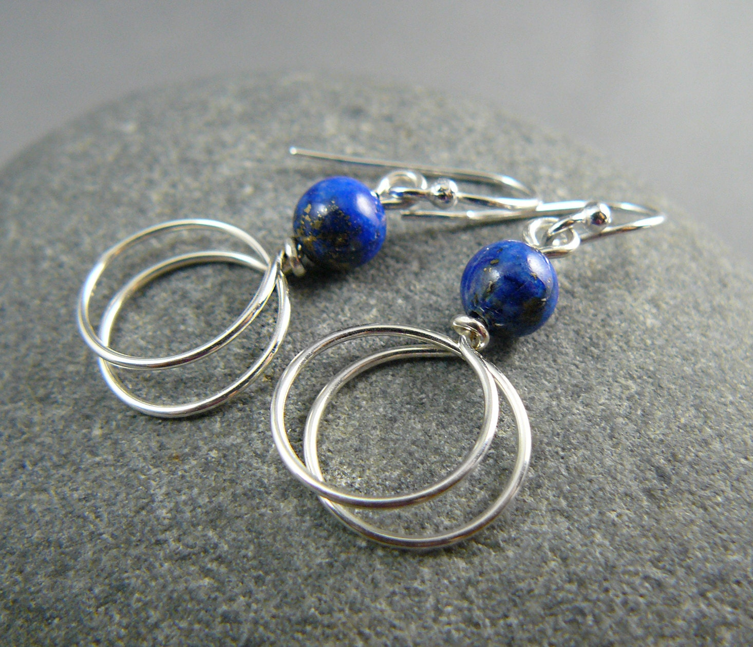 Lapis Earrings with Double Silver Hoop - goodmedicinegemstone