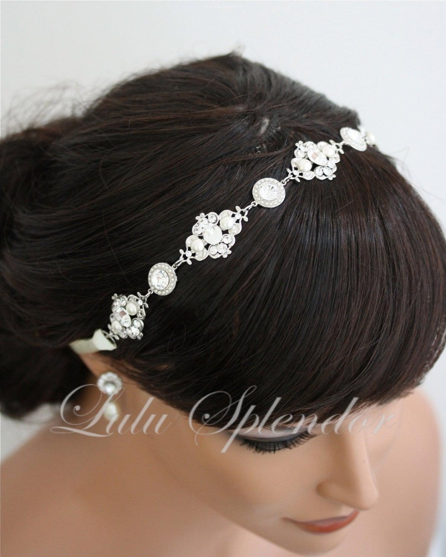 Ribbon Headband Pearl Crystal Wedding Hair By LuluSplendor