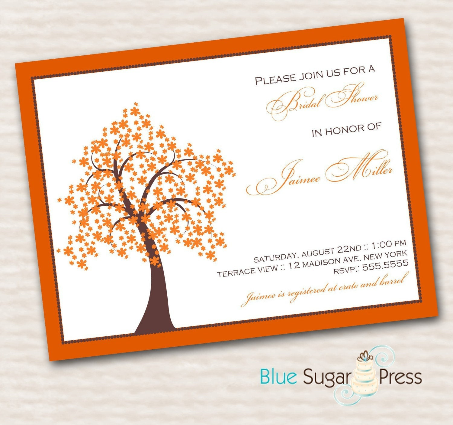 Printable Fall Tree Bridal Shower Wedding Invitations, digital file