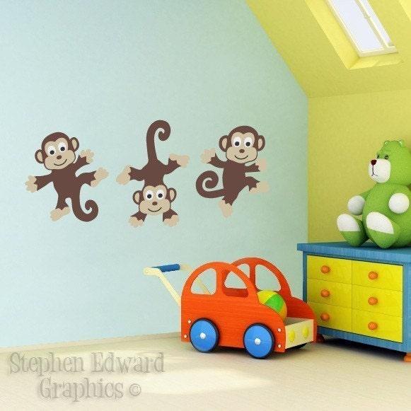 children wall decals bunch of monkeys vinyl wall art kids wall art