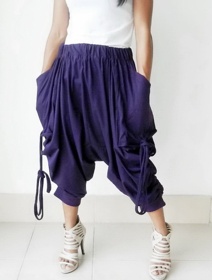 Harem pant Comfortable,Capri, Yoga, Ninja Pants.Purple,Cotton Jersey. - thaisaket