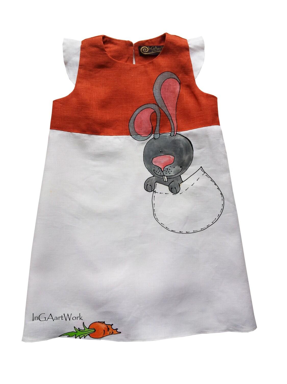 Orange and White Hand-painted Linen Dress by InGAartWork, @etsy,@ girls dresses, etsy dresses, etsy best dresses,