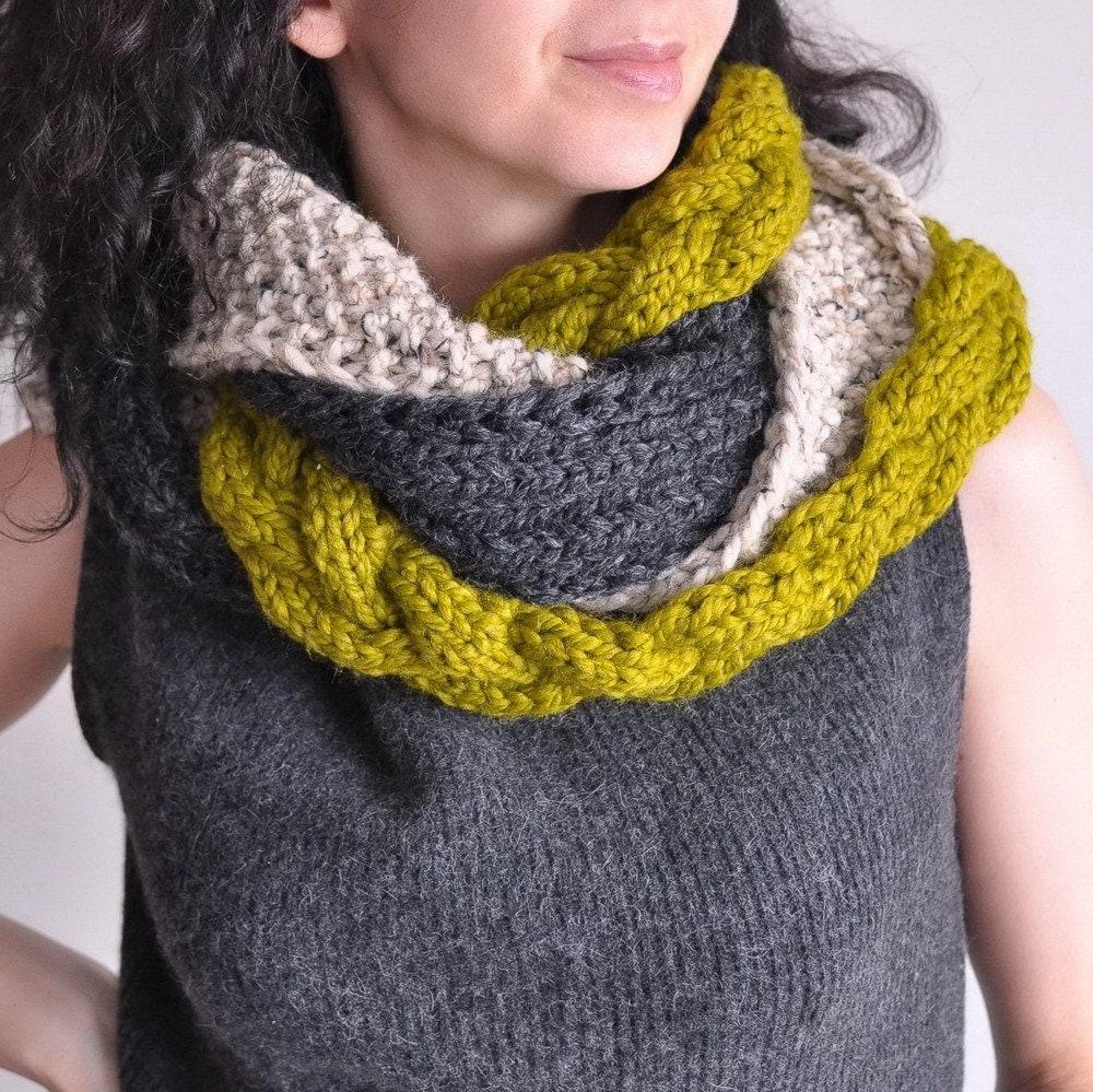 Great Escape - мужской дизайнер handknit коренастый текстуры круговой шарф / на заказ в 16 цветов