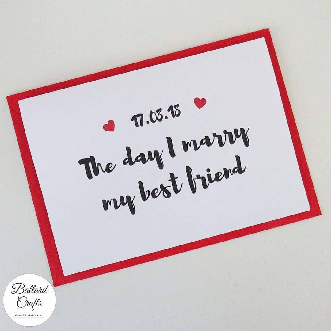 Personalised Wedding Day Card Birthday Card Wife, Husband, Fiance, Bride, Groom The Day I Marry My Best Friend Valentines Day