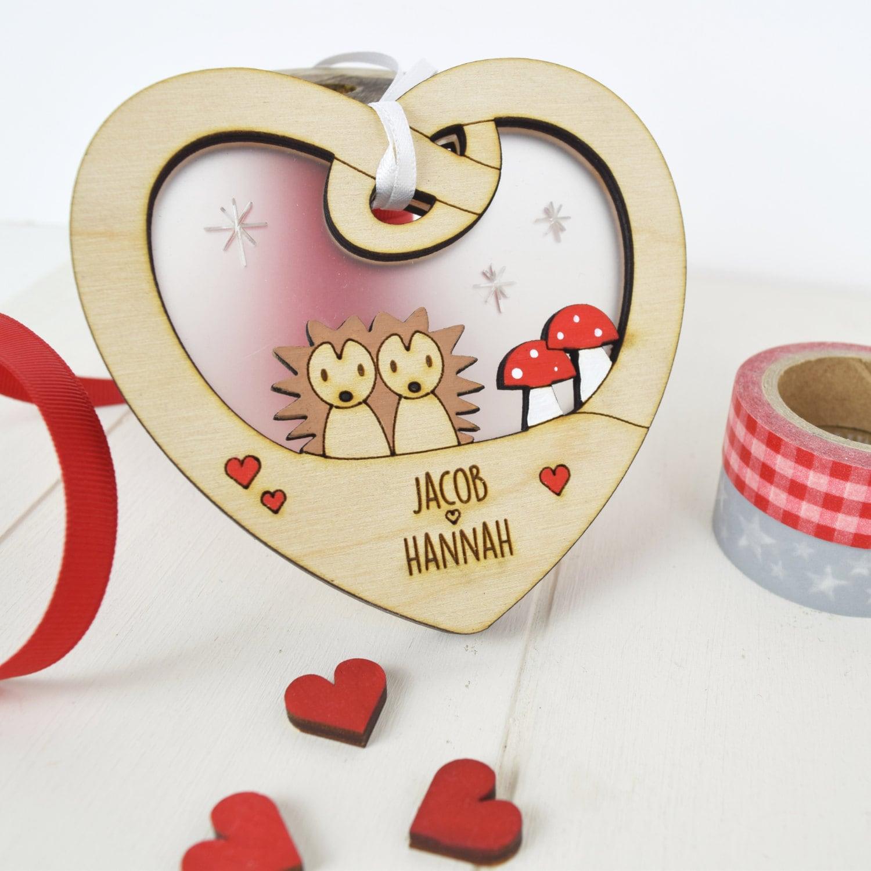 Personalised wedding love heart  wedding gift  engagement gift  cute hedgehogs  hedgehogs  love
