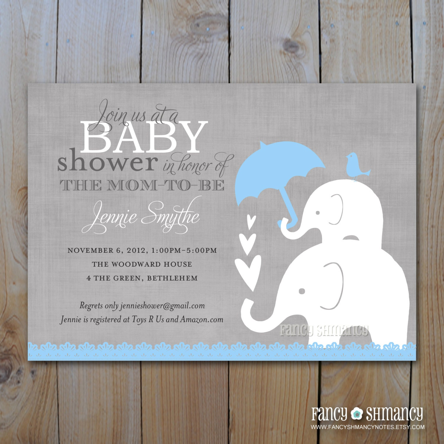 Elephant Baby Shower Invitation / Printable By FancyShmancyNotes