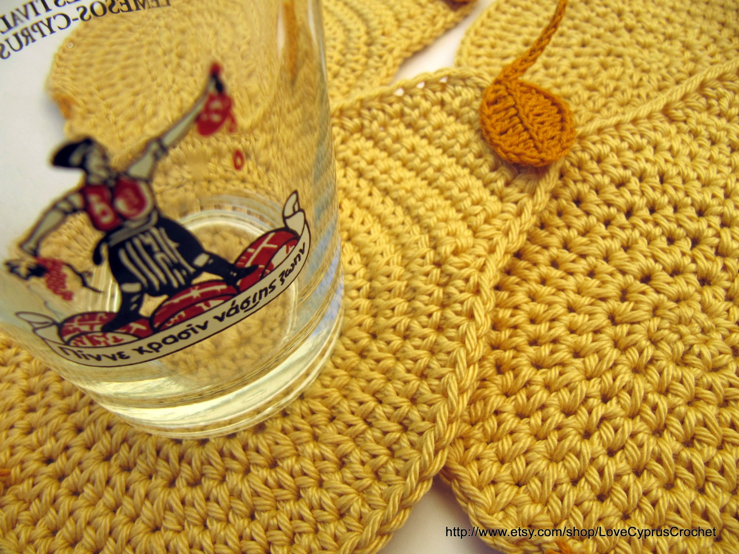 CROCHET COASTERS SET 4 pieces, Drink Coasters Yellow Pear, Handmade Coasters, Ready To Ship Cyprus Crochet Lyubava