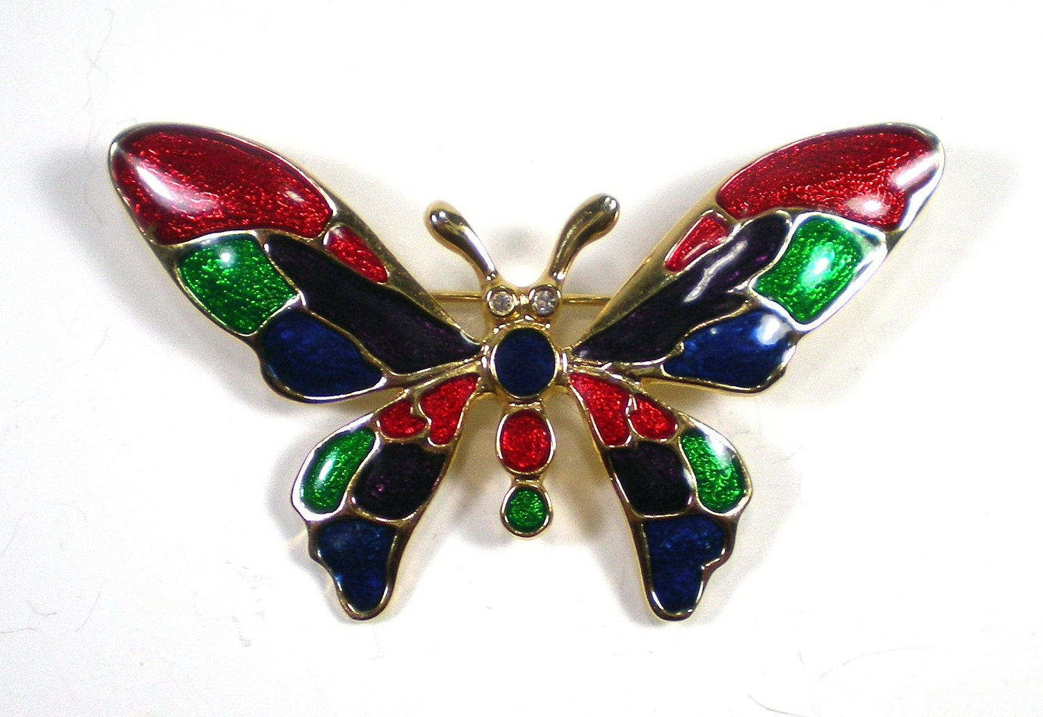 Vintage Enamel Butterfly Brooch Gold Red Blue Purple by paleorama from etsy.com