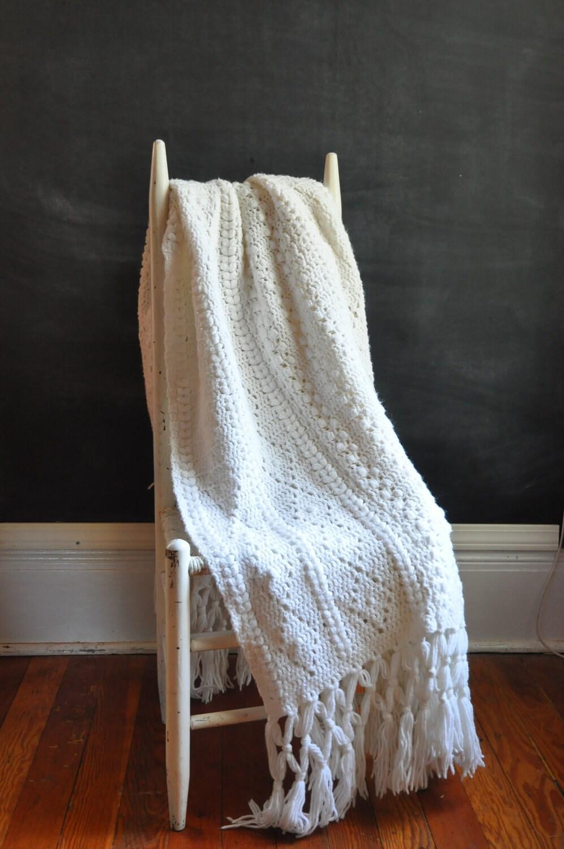 Vintage Handmade Afghan Blanket Snow White Lace