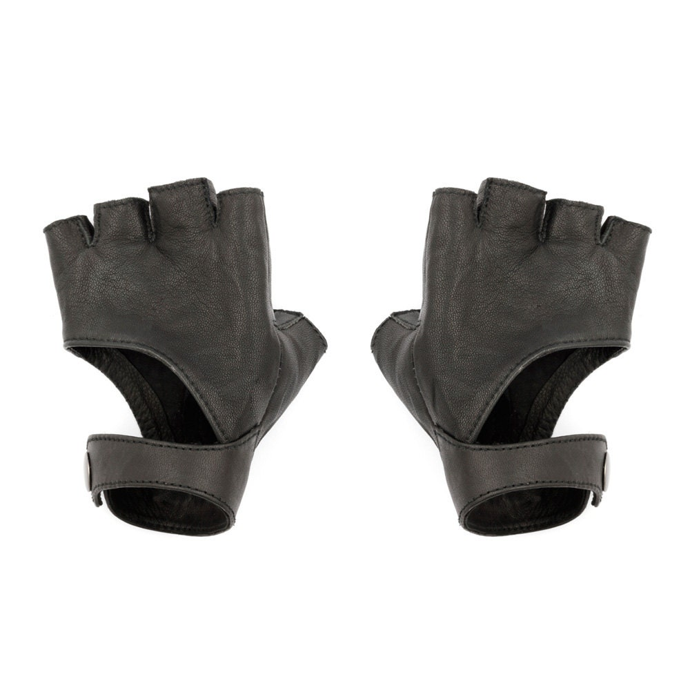the gallery for gt black leather fingerless gloves women