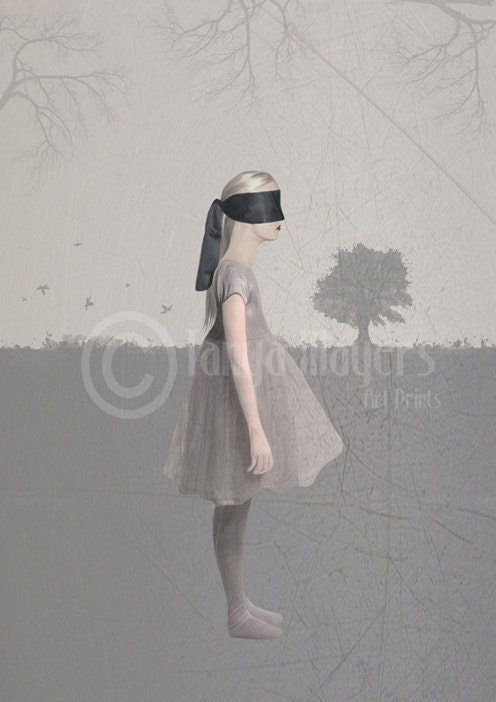 Melancholy Art Print Blindfolded Girl &  Gray Landscape - HarrietsImagination