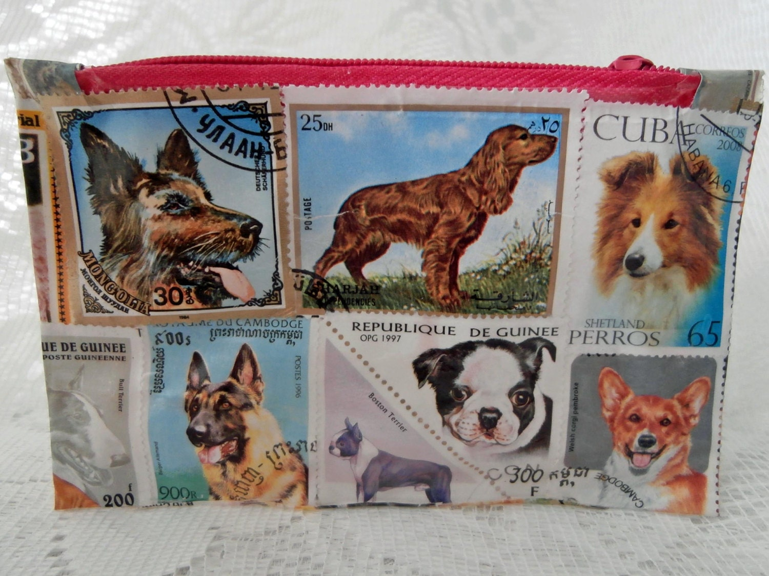 Coin Purse  Dogs Postage Stamps  Waterproof Zip Coin Purse  Decoupage Pet Animal Dog Rainbow Picture Stamp Pouch