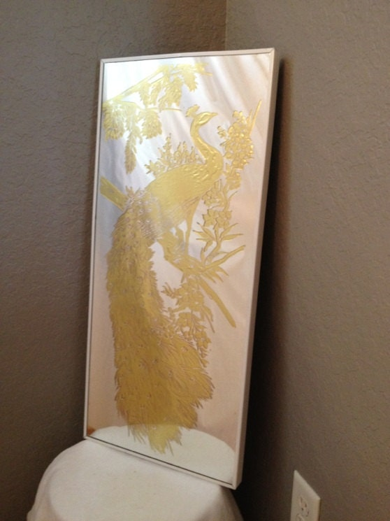 Vintage Etched Mirror Gold Inlay Peacock By
