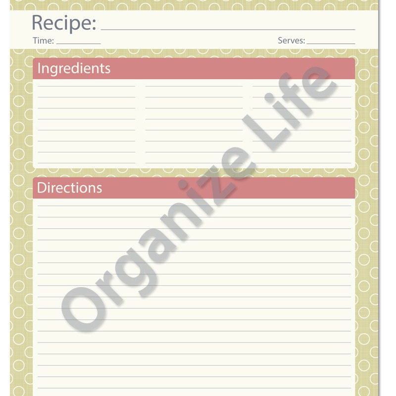 recipe card full page recipe template printable by organizelife