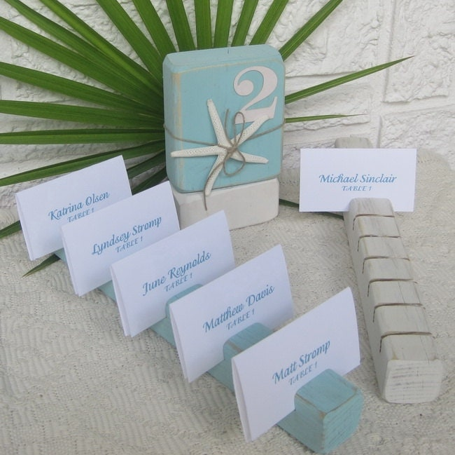 Wood Block Place/Escort Card Holder Strip  -  Ocean Mist Blue - GuessWhoooDesigns