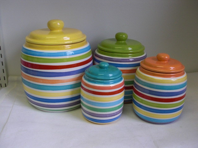set of 4 bright rainbow and white hand painted striped by