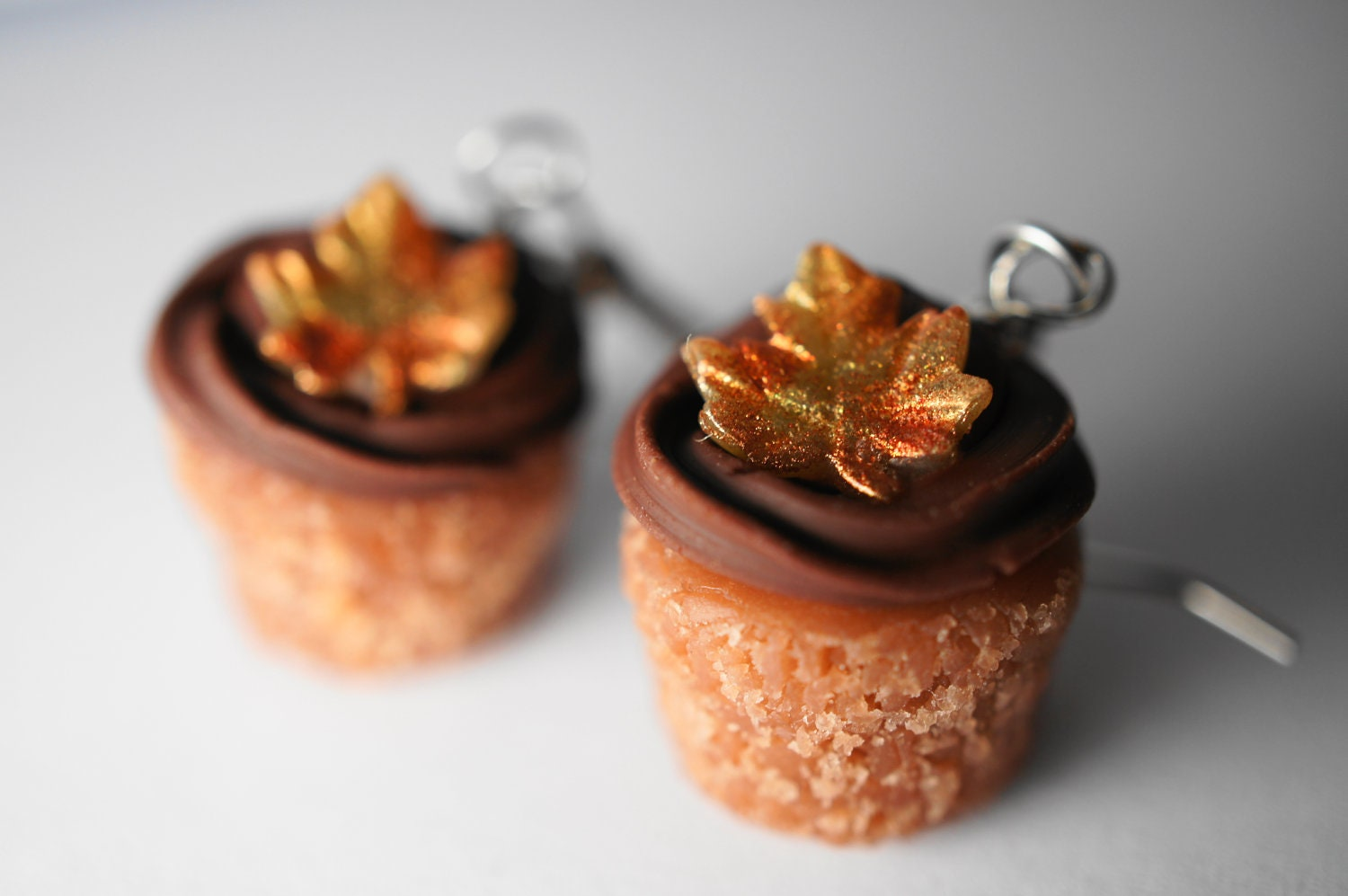 Fall Cupcake Dangle Earrings, Miniature Food Jewelry, Thanksgiving Cupcake Polymer Clay Food Earrings, Surgical Steel