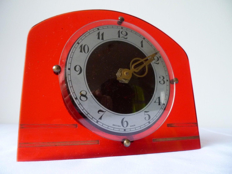 British made ART DECO  1920 1930 electric clock red luciteplasticperspex