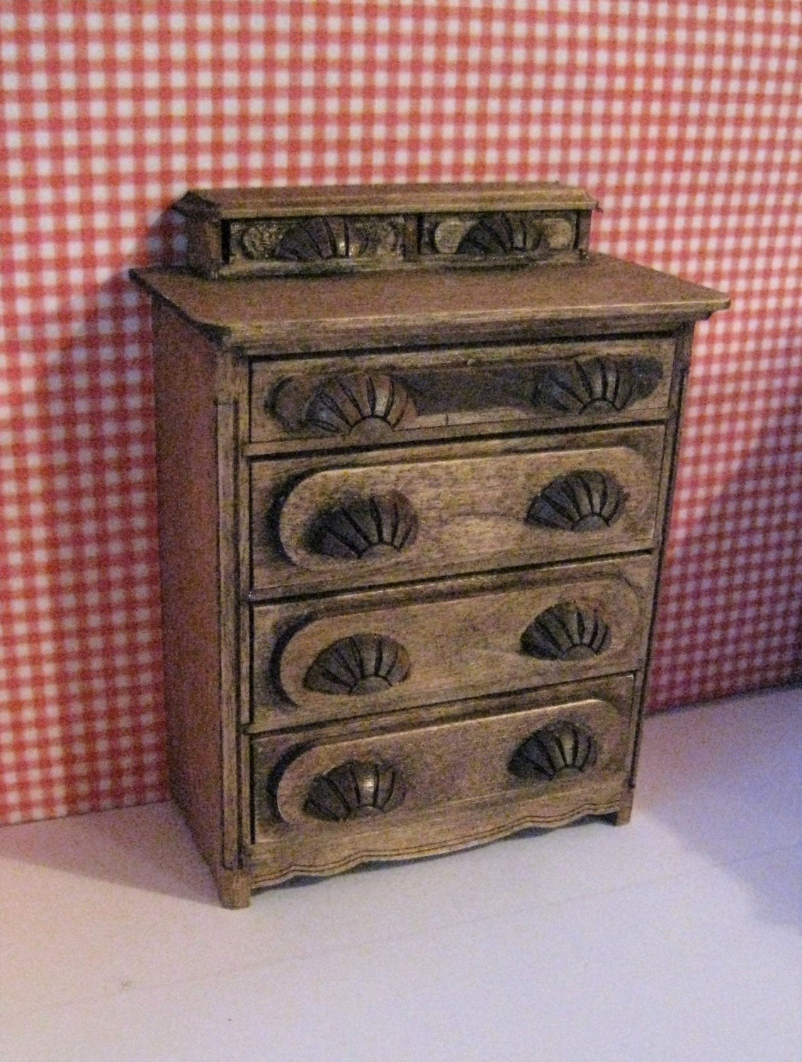 Dollhouse chest bedroom chest shell knobs chest of drawers  chest drawers country look dark oak twelfth scale