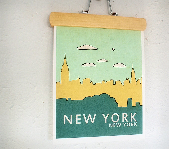 Affordable Fine Art Print - New York No.1 - 8 x 10 Illustration and Typography City Skyline Print