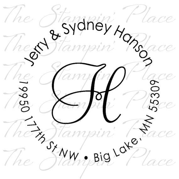 Custom address stamp letter circle address by thestampinplace for Self inking letter stamps