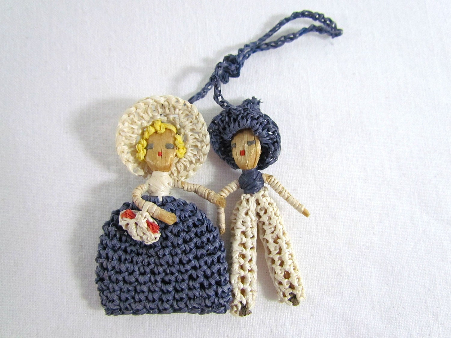 Miniature Doll Boy and Girl Crocheted So Tiny and Cute - VintagePolkaDotcom