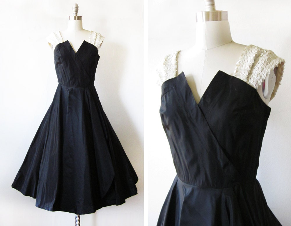 vintage 50s dress / black taffeta white sequins / cocktail party dress