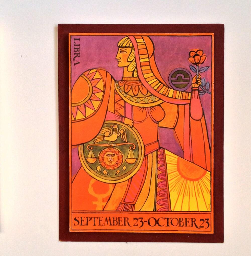 Libra Zodiac Horoscope Framed Print By Oka Vintage By