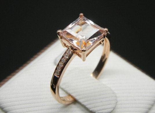 Engagement Ring 2 3 Carat Morganite Ring With by stevejewelry