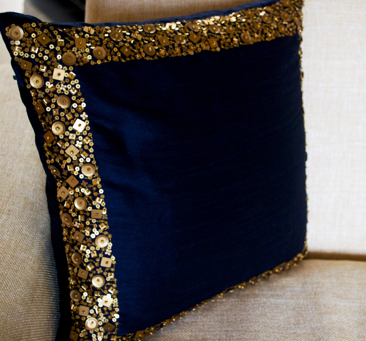 Throw Pillows - Navy Blue cushion with gold sequin boarder - sequin ...