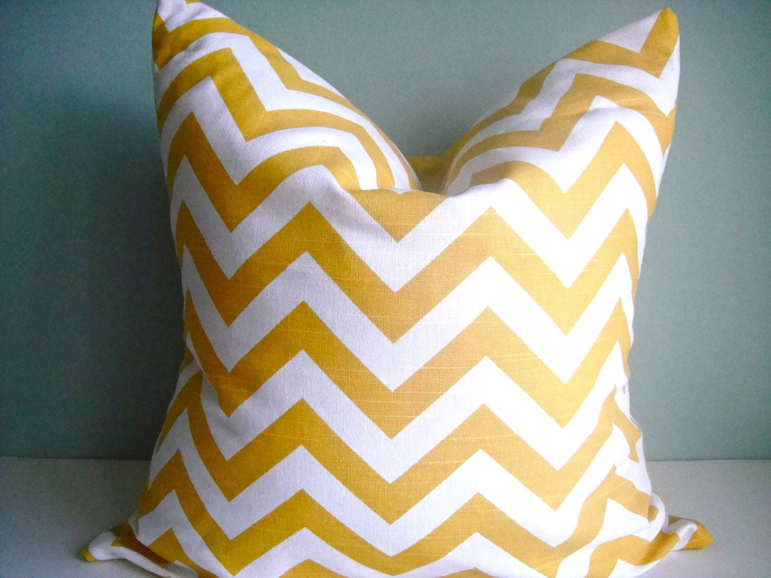 SET Of Two 16x16 Designer Pillow In Chevron Corn Yellow Contemporary Print