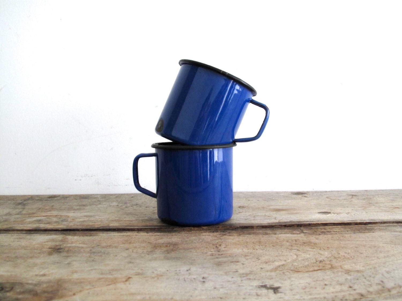 Vintage Blue Enamel Cup - Blue Metal Cups /  Enamel Mugs - Camping Decor - Rustic Primitive Industrial Decor - SnapshotVintage