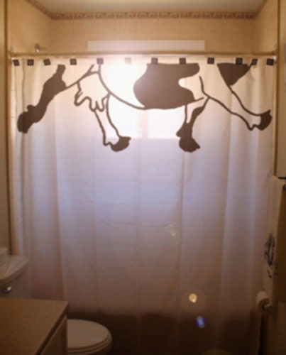 Cow teats shower curtain funny bathroom by for Funny bathroom designs