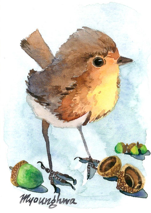 ACEO Limited Edition 3/25- Little Acorns, in watercolor - annalee377