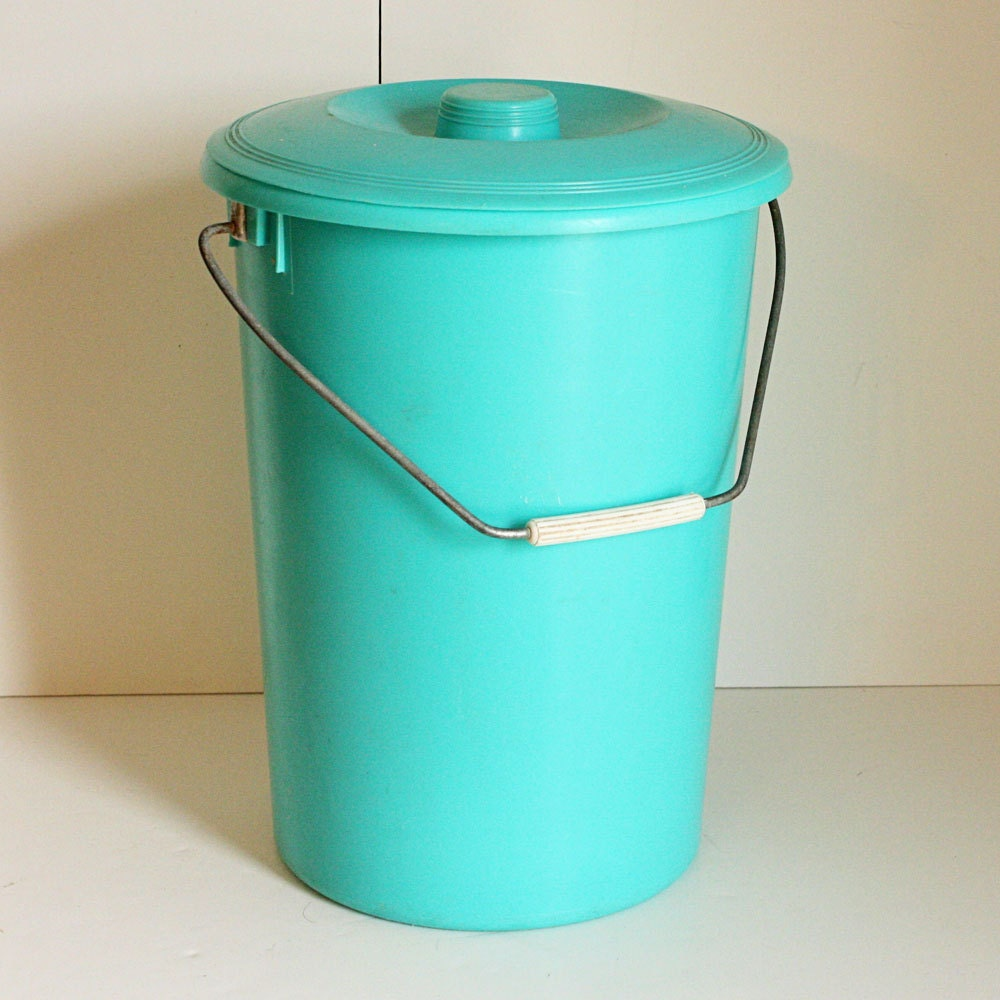 Items Similar To Vintage Aqua Pail Diaper Pail Trash Can Craft Storage With